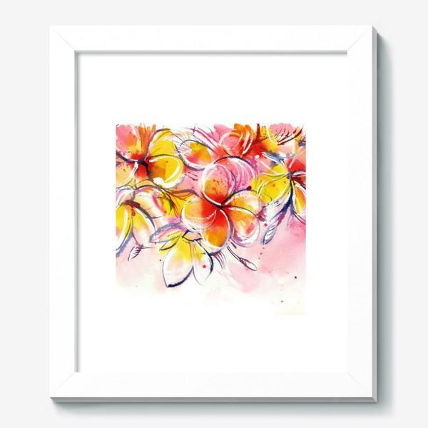 Картина «плюмерия, ветка экзотических розовых цветов»