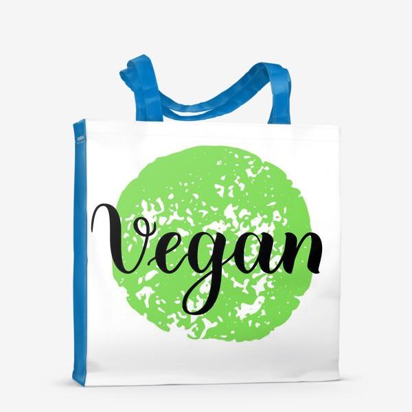 Сумка-шоппер «Веган леттеринг на зеленой текстуре»