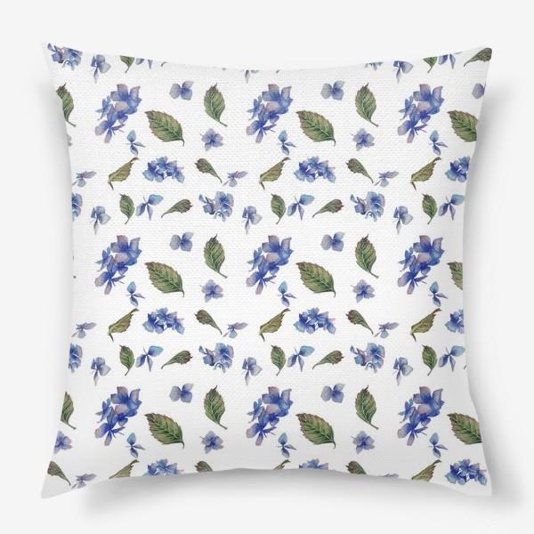 Подушка «Голубая гортензия крупная»