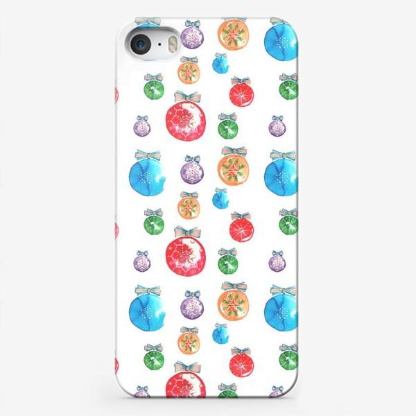 Чехол iPhone «Новогодние шары паттерн крупный»