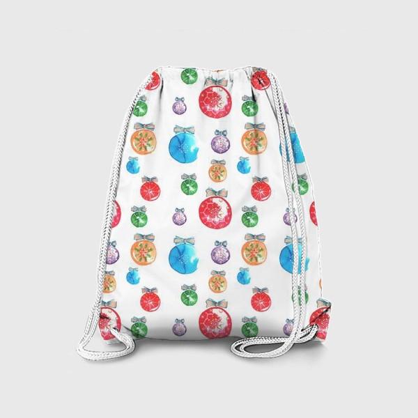 Рюкзак «Новогодние шары паттерн крупный»