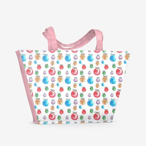 Пляжная сумка «Новогодние шары паттерн мелкий»