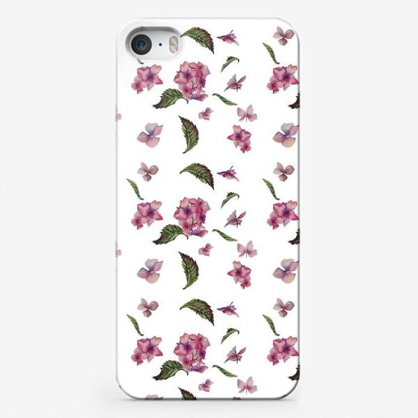 Чехол iPhone «Розовая гортензия. Паттерн. Крупный»