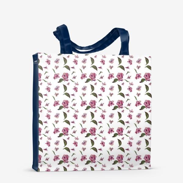 Сумка-шоппер «Розовая гортензия. Паттерн. Мелкий»