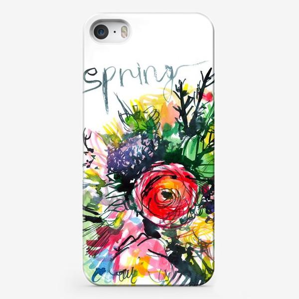 Чехол iPhone «разноцветный букет с большим красным лютиком в центре, весна»