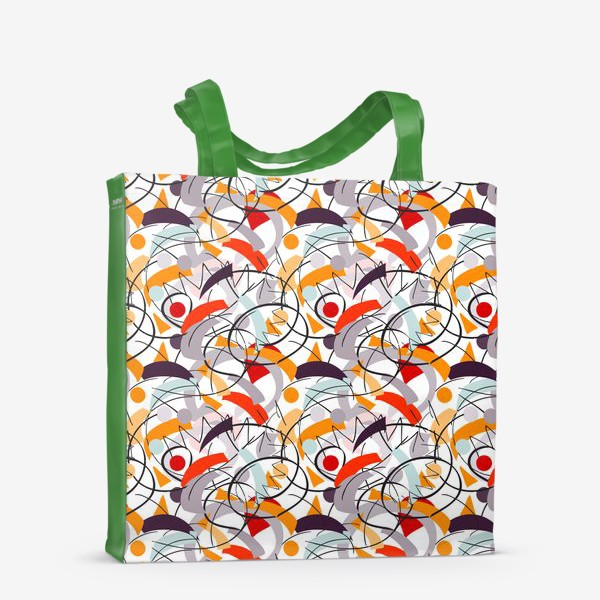 Сумка-шоппер «Абстрактный разноцветный узор в серой, розовой и растельной гамме с обтекаемыми мягкими формами.»