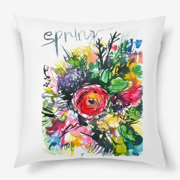 Подушка «разноцветный букет с большим красным лютиком в центре, весна»