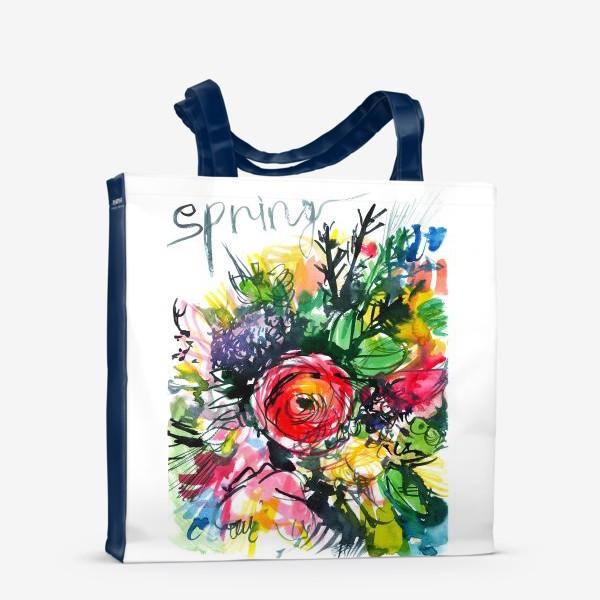 Сумка-шоппер «разноцветный букет с большим красным лютиком в центре, весна»