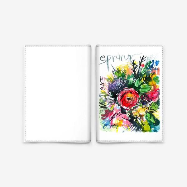 Обложка для паспорта «разноцветный букет с большим красным лютиком в центре, весна»