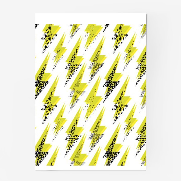 Постер «Яркий абстрактный узор  с молниями в стиле 80-х»
