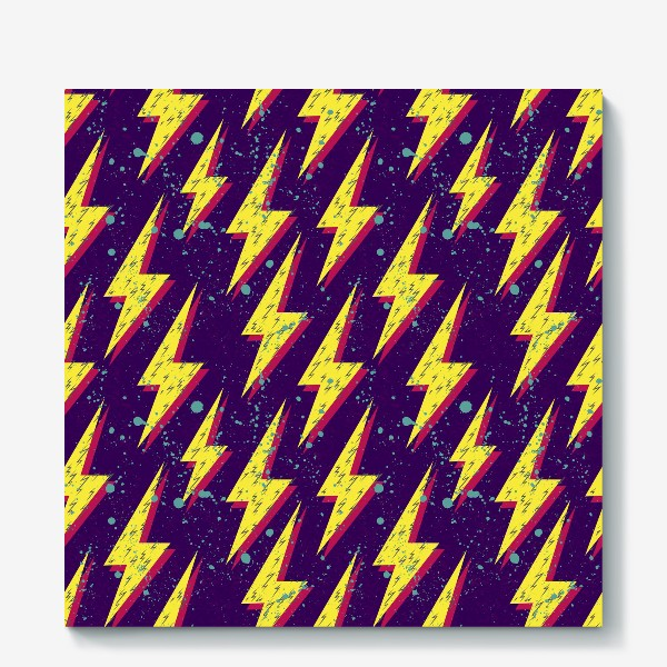 Холст «Яркий абстрактный узор  с молниями в стиле 80-х»