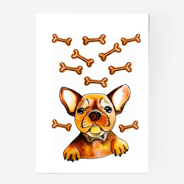Постер «Собака в мечтах (французский бульдог)»