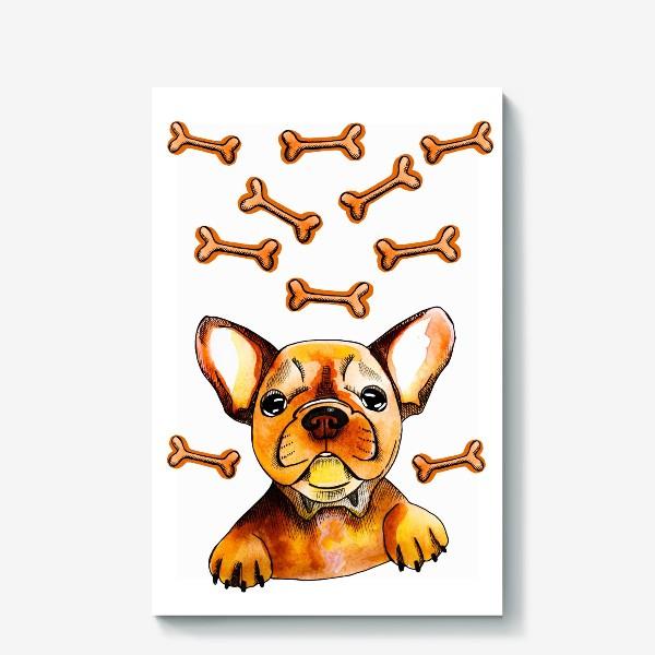 Холст «Собака в мечтах (французский бульдог)»