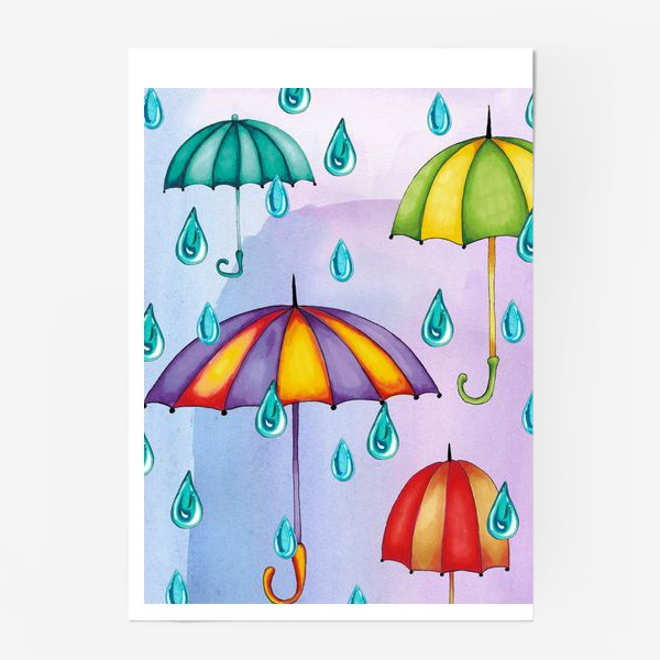 Постер «Разноцветные зонтики»