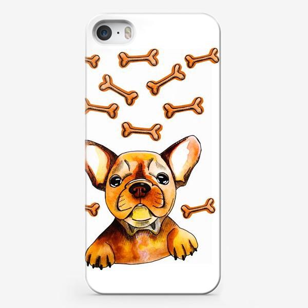 Чехол iPhone «Собака в мечтах (французский бульдог)»