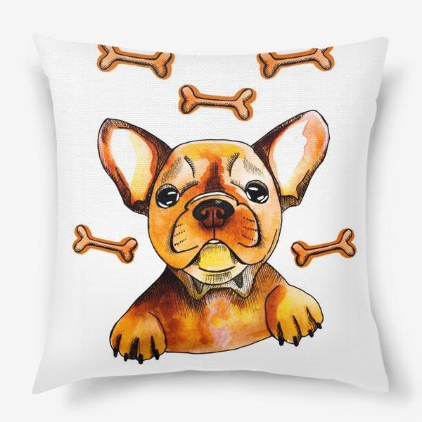 Подушка «Собака в мечтах (французский бульдог)»