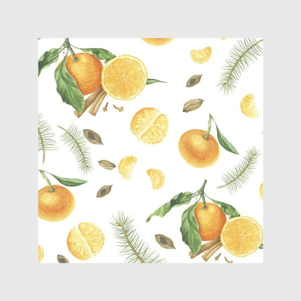 Скатерть «Яркие мандарины, еловые веточки и специи»