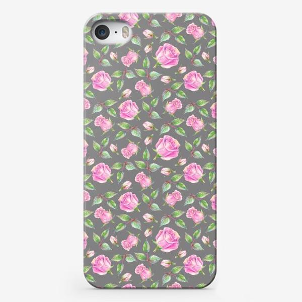 Чехол iPhone «Розовые розы на сером фоне»