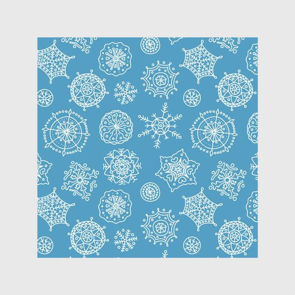 Шторы «Новогодние снежинки (голубой фон)»