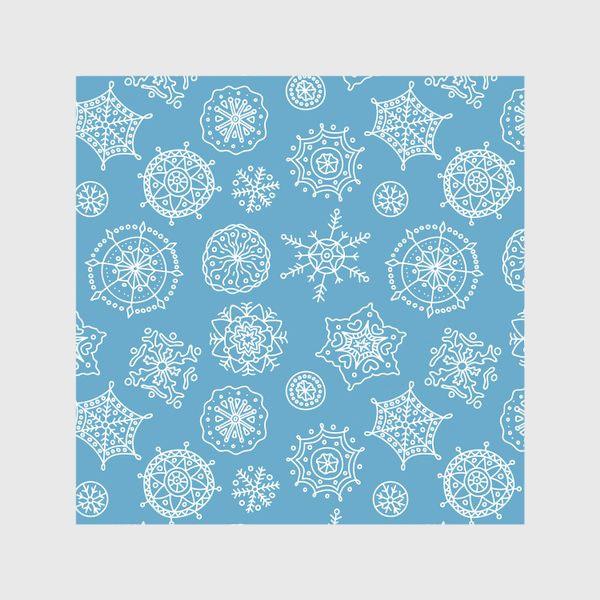 Скатерть «Новогодние снежинки (голубой фон)»