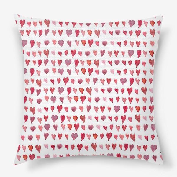 Подушка «Паттерн с акварельными сердечками»