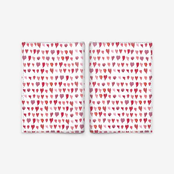 Обложка для паспорта «Паттерн с акварельными сердечками»