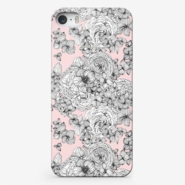 Чехол iPhone «Розы мак и гортензия»