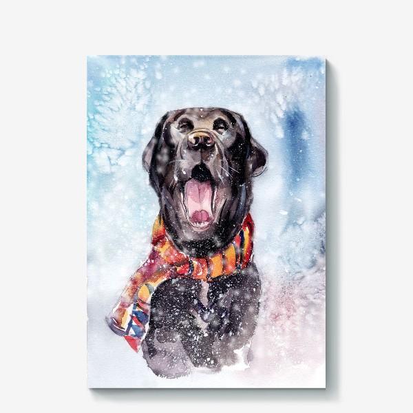 Холст «Собака зевает»