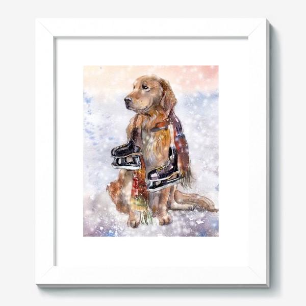 Картина «Собака в шарфе с коньками»