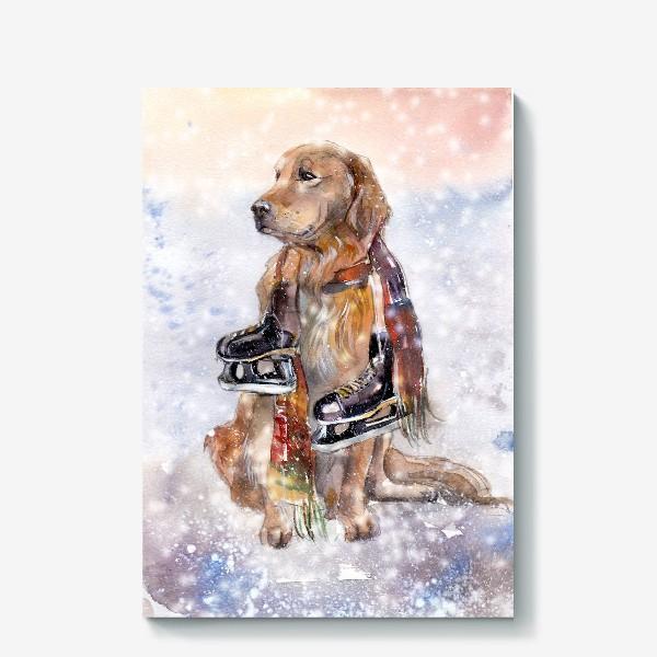 Холст «Собака в шарфе с коньками»