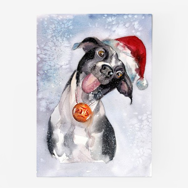 Постер «Собака с языком в шапке Санты»