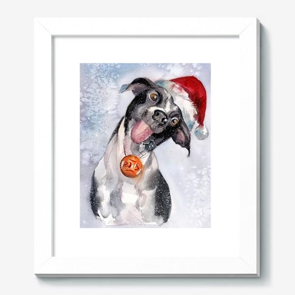 Картина «Собака с языком в шапке Санты»