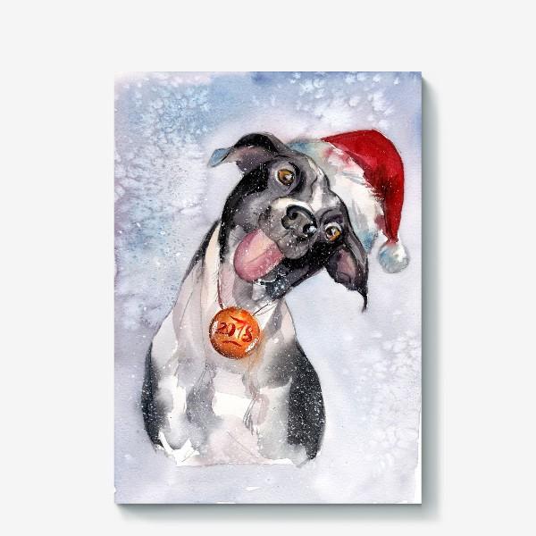 Холст «Собака с языком в шапке Санты»