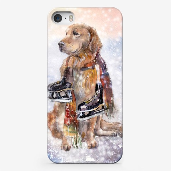 Чехол iPhone «Собака в шарфе с коньками»