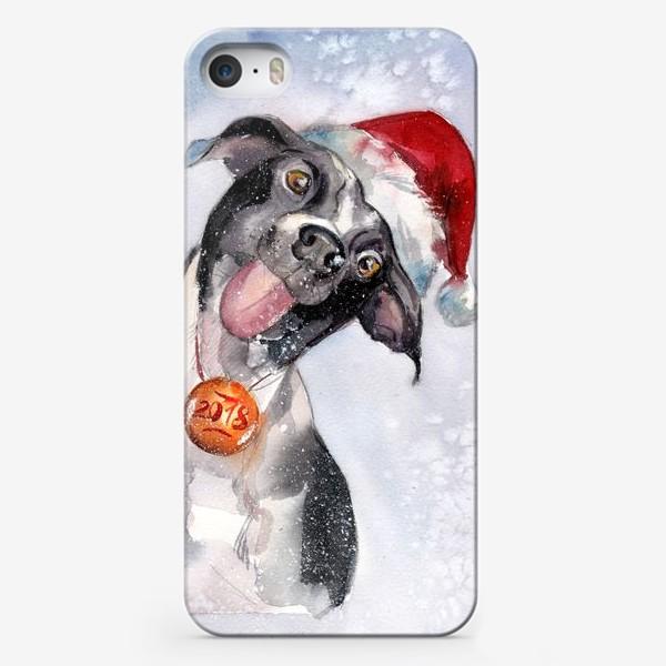 Чехол iPhone «Собака с языком в шапке Санты»