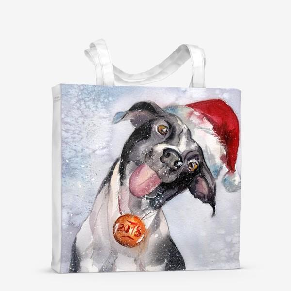 Сумка-шоппер «Собака с языком в шапке Санты»