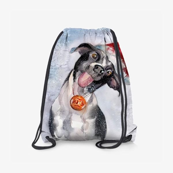 Рюкзак «Собака с языком в шапке Санты»