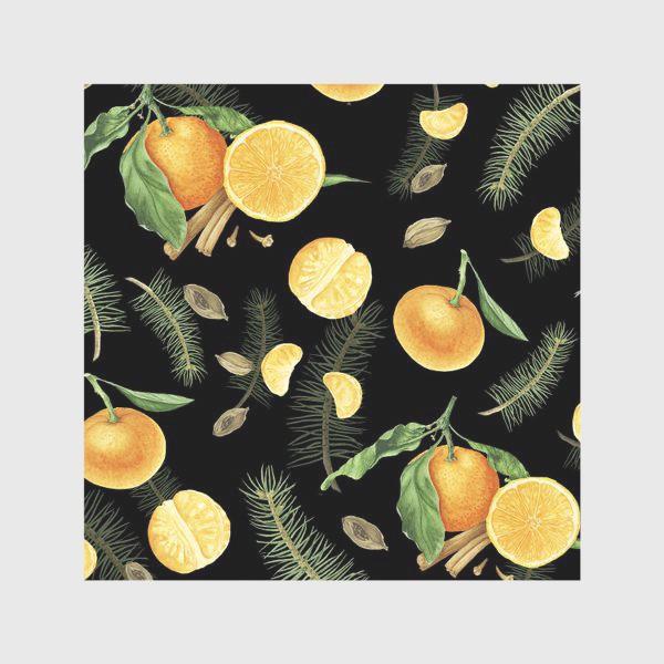 Скатерть «Яркие мандарины, еловые веточки и специи на черном фоне»