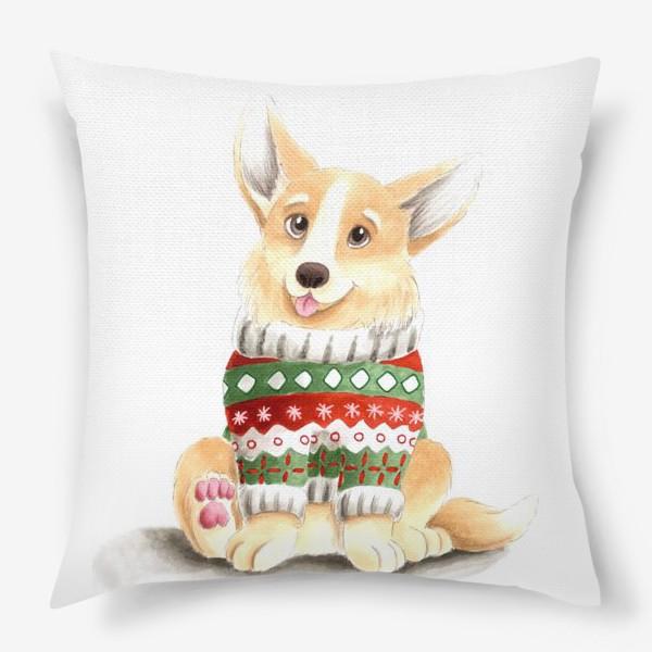 Подушка «Собака корги в свитере»