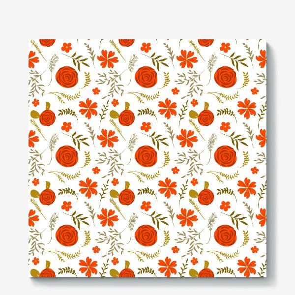 Холст «Цветочный узор. Красные цветы.»