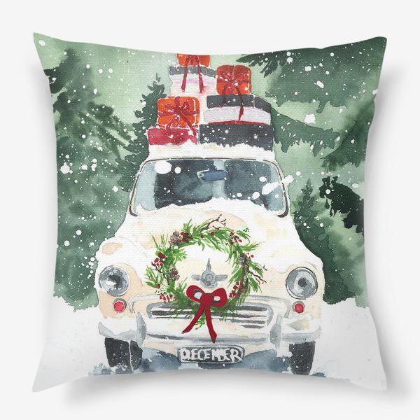 Подушка «Машина с подарками»