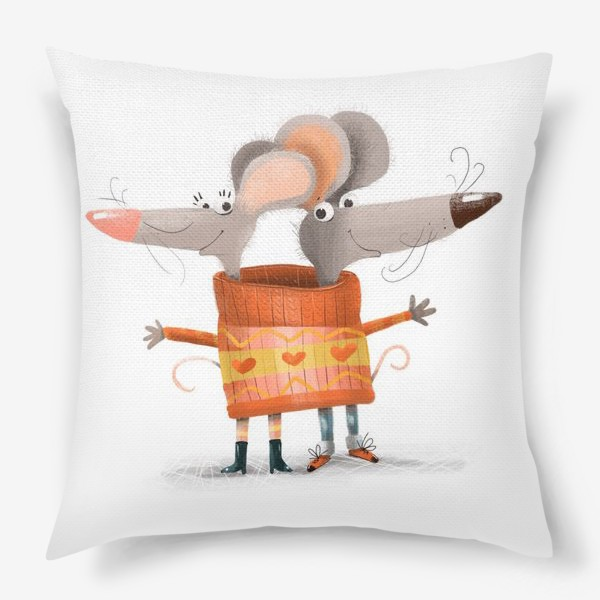 Подушка «Мышки в свитере»