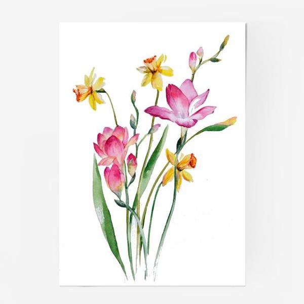 Постер «Акварель Цветы Весеннее настроение»