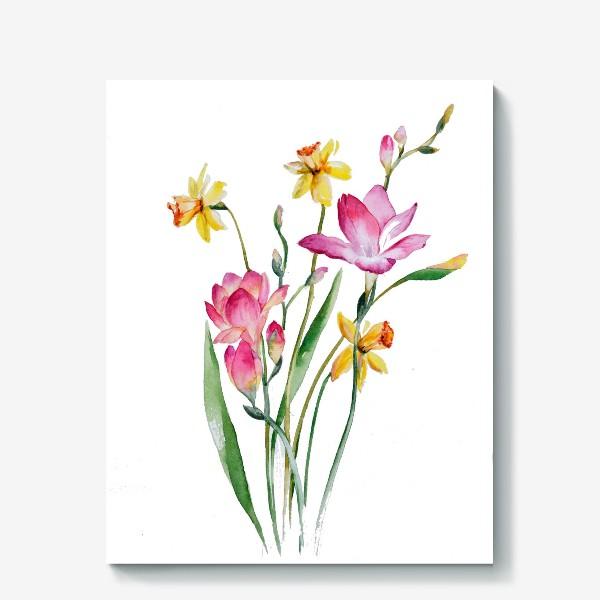 Холст «Акварель Цветы Весеннее настроение»