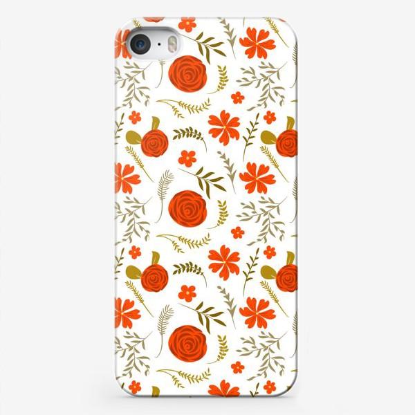 Чехол iPhone «Цветочный узор. Красные цветы.»