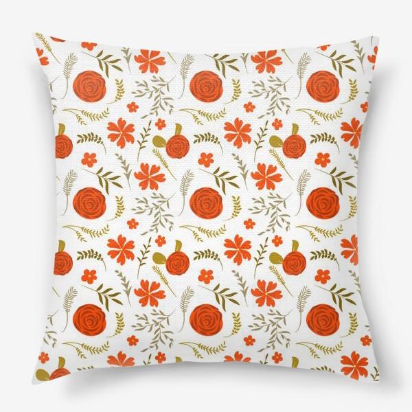Подушка «Цветочный узор. Красные цветы.»