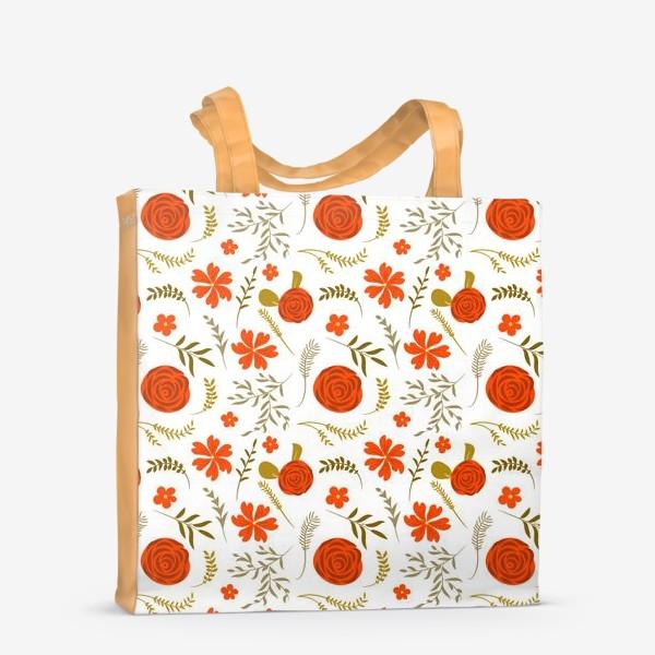 Сумка-шоппер «Цветочный узор. Красные цветы.»