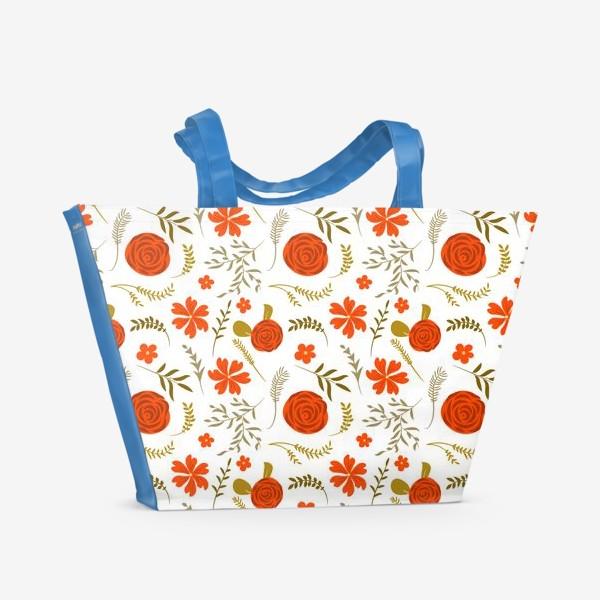 Пляжная сумка «Цветочный узор. Красные цветы.»