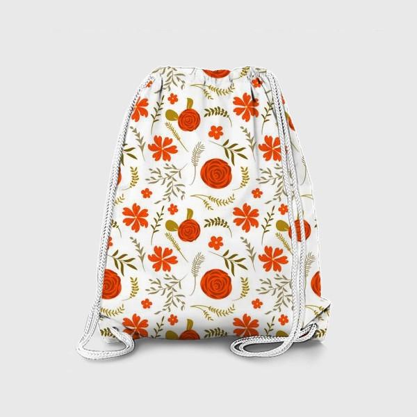 Рюкзак «Цветочный узор. Красные цветы.»