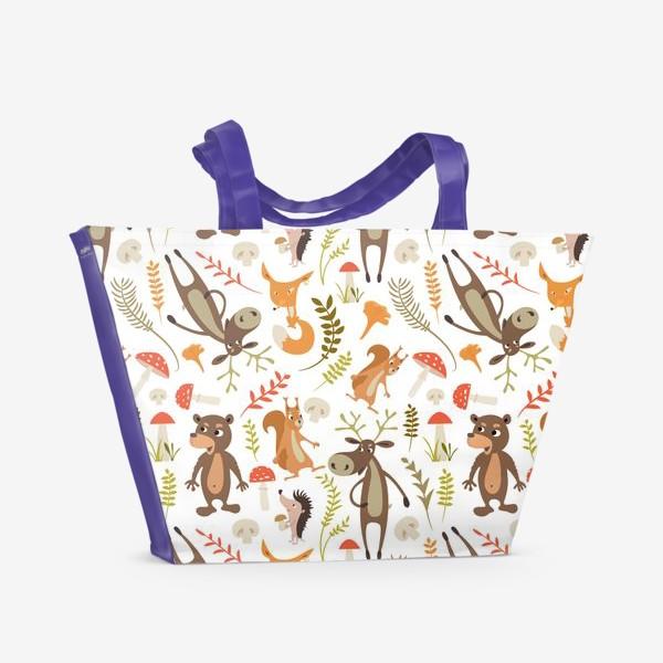 Пляжная сумка «Лесные животные. Лиса, медведь, лось, белка,ёж.»